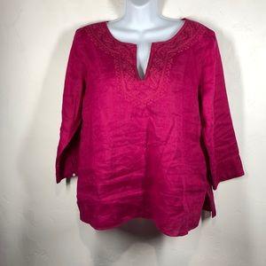 Lauren Ralph Lauren 100% linen pink blouse sz med